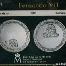 Reproducciones billetes y monedas: UN DURO 1808 GERONA COLECCION DEL REAL ALA PESETA. Lote 64101975