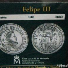 Reproducciones billetes y monedas: DUCATON 1608 FELIPE III MILAN COLECCION DEL REAL A LA PESETA. Lote 64123315