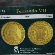 Reproducciones billetes y monedas: 8 ESCUDOS 1810 FERNANDO VII LIMA COLECCION DEL REAL A LA PESETA. Lote 64424263