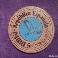 Reproducciones billetes y monedas: CARTÓN MONEDA DE USO PROVISIONAL - PARRES - OVIEDO 1937 - 15 CÉNTIMOS - REPUBLICA ESPAÑOLA. Lote 66908986