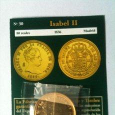 Reproducciones billetes y monedas: ISABEL II 80 REALES 1836 MADRID. Lote 66924910