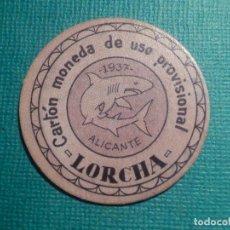 Reproducciones billetes y monedas: CARTÓN MONEDA DE USO PROVISIONAL - LORCHA - ALICANTE - 1937 - 10 CTS. - REPÚBLICA ESPAÑOLA. Lote 67632413