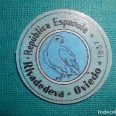 Reproducciones billetes y monedas: CARTÓN MONEDA DE USO PROVISIONAL - RIVADEDEVA - OVIEDO - 1937 - 15 CTS. - REPÚBLICA ESPAÑOLA. Lote 67632745