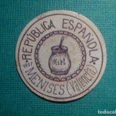 Reproducciones billetes y monedas: CARTÓN MONEDA DE USO PROVISIONAL - MENISES - VALENCIA - 1937 - 5 CTS. - REPÚBLICA ESPAÑOLA. Lote 67632777
