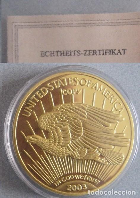 Reproducciones billetes y monedas: BONITA REPRODUCCION DEL GOLD EAGLE DOLAR 1933 PROCEDENTE DE ALEMANIA EDICION LIMITADA Y CERTIFICADA - Foto 3 - 67947857