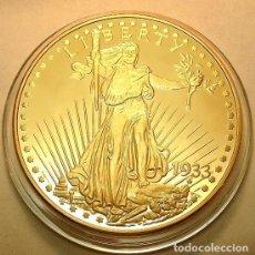 Reproducciones billetes y monedas: BONITA REPRODUCCION DEL GOLD EAGLE DOLAR 1933 PROCEDENTE DE ESTADOS UNIDOS EDICION LIMITADA. Lote 148269725