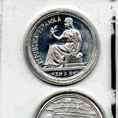 Reproducciones billetes y monedas: L22 MONEDA, MEDALLA, REPRODUCCIÓN, REPLICA 2.21 EKL LP ~ PESETA REPUBLICANA ~ DE PLATA 800. Lote 68985042