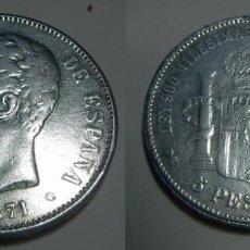 Reproducciones billetes y monedas: REPRODUCCION 5 PESETAS DE AMADEO I 1871. Lote 68979177