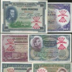 Reproducciones billetes y monedas: LOTE 6 BILLETES ESTADO ESPAÑOL RESELLO FALANGE . REF 6215. Lote 97493324