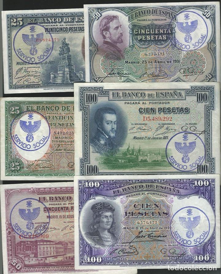 LOTE 6 BILLETES ESTADO ESPAÑOL RESELLO FALANGE SERVICIO SOCIAL REF 54634 (Numismática - Reproducciones)