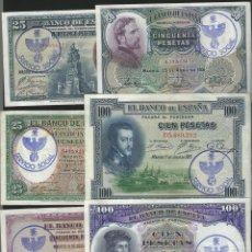 Reproducciones billetes y monedas: LOTE 6 BILLETES ESTADO ESPAÑOL RESELLO FALANGE SERVICIO SOCIAL REF 54634. Lote 97729698