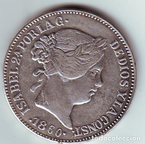 REPRODUCCIÓN MONEDA DE ISABEL II DE 20 REALES 1860 (Numismática - Reproducciones)