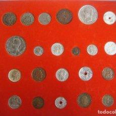 Reproducciones billetes y monedas: LIQUIDACION COLECCION DE LA HISTORIA DE LA PESETA REPRODUCION DE 30 MONEDAS. Lote 98812546