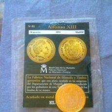 Reproducciones billetes y monedas: REPLICA MONEDA DE 20 PESETAS ALFONSO XIII.. Lote 76191359