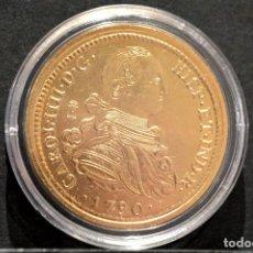 Reproducciones billetes y monedas: BONITA REPRODUCCIÓN MONEDA DE ORO 8 ESCUDOS 1790 SEVILLA CARLOS IV ESPAÑA METAL BAÑO DE ORO PURO. Lote 76745671