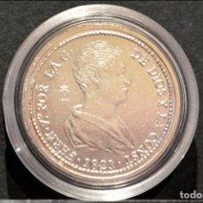Reproducciones billetes y monedas: BONITA REPRODUCCIÓN MONEDA PLATA 4 REALES 1823 VALENCIA FERNANDO VII METAL CON BAÑO DE PLATA FINA. Lote 76850655