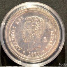 Reproducciones billetes y monedas: BONITA REPRODUCCIÓN MONEDA PLATA 5 PESETAS 1871 AMADEO I ESPAÑA METAL CON BAÑO DE PLATA FINA. Lote 76923379