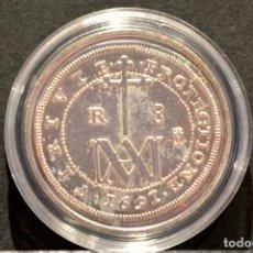 Reproducciones billetes y monedas: BONITA REPRODUCCIÓN MONEDA PLATA 8 REALES 1691 TIPO MARIA CARLOS II ESPAÑA METAL BAÑO DE PLATA FINA. Lote 76923419