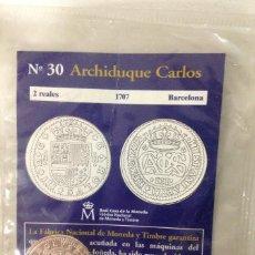 Reproducciones billetes y monedas: 2 REALES 1707 BARCELONA ARCHIDUQUE CARLOS - DEL REAL A LA PESETA - EL PAIS Nº 30. Lote 76948313