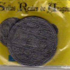 Reproducciones billetes y monedas: SELLOS REALES DE ARAGON. FERNANDO I 1413. REPRODUCIÓN DE EL PERIODICO DE ARAGON PRECINTADA. Lote 80642594