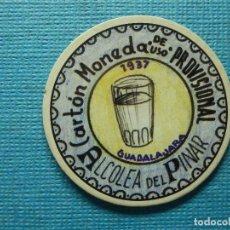 Reproducciones billetes y monedas: CARTÓN MONEDA DE USO PROVISIONAL - ALCOLEA DEL PINAR - GUADALAJARA - 1937 - 10 CTS - REPÚBLICA ESP.. Lote 83192848