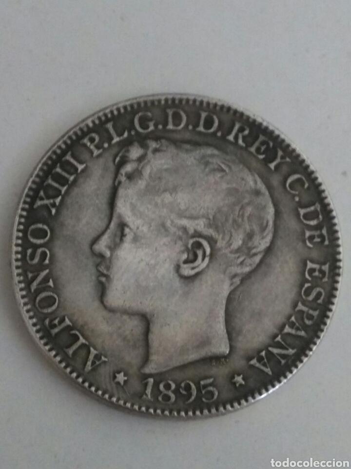**1 PESO=5 PTAS. MONEDA RÈPLICA PLATA ALFONSO XIII 1895 PUERTO RICO!!** (Numismática - Reproducciones)