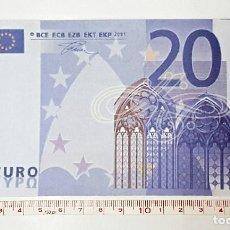 Reproducciones billetes y monedas: REPRODUCCION A 125% DE BILLETE DE 20 €. Lote 84255244