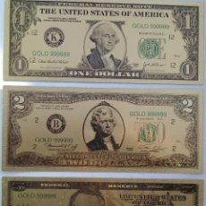 Reproducciones billetes y monedas: REPLICAS DE 3 BILLETES EEUU EN ORO DE 24K. Lote 85851400