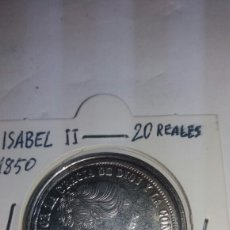Reproducciones billetes y monedas: REPRODUCCIÓN EN BAÑO DE PLATA 20 REALES 1850. Lote 85894223