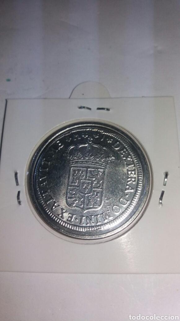 Reproducciones billetes y monedas: REPRODUCCIÓN EN BAÑO DE PLATA DE FELIPE V 1709 - Foto 2 - 201545516