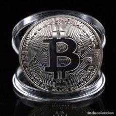 Reproducciones billetes y monedas: 1 MONEDA DE BITCOIN DE PLATA BTC DE COLECCION . Lote 86554948