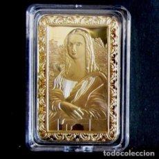 Reproducciones billetes y monedas: LINGOTE EN RELIEVE. BAÑO DE ORO 24 KT. LA GIOCONDA DE LEONARDO DA VINCI. MONA LISA.. Lote 94708464