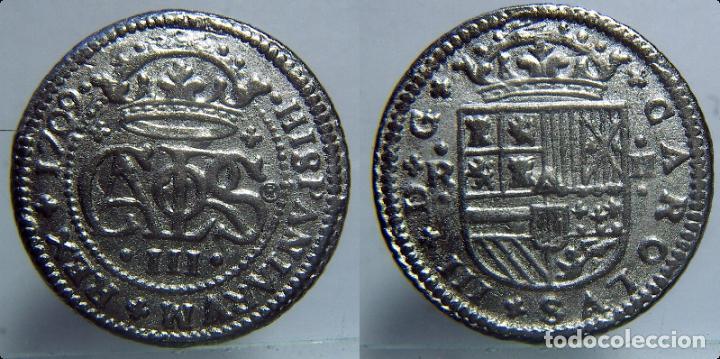 REPRODUCCION DE UNA MONEDA DE CARLOS IV 2 REALES 1709 (Numismática - Reproducciones)