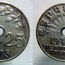 Reproducciones billetes y monedas: REPRODUCCION DE UNA MONEDA DE 25 CENTIMOS 1937. Lote 87653016