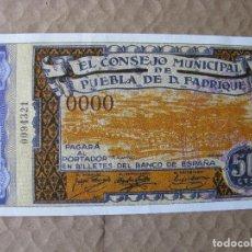 Reproducciones billetes y monedas: PPRLY - 50 CTS EL CONSEJO MUNICIPAL DE PUEBLA DE DON FADRIQUE. FACSÍMIL. FNMT NRO 0094321. Lote 89603224