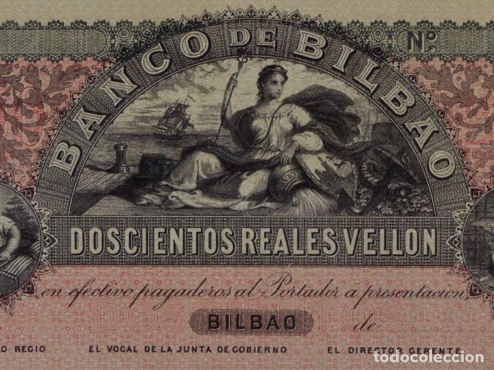 Reproducciones billetes y monedas: FACSIMIL DE 200 REALES DE VELLÓN BANCO DE BILBAO SOBRE 18... - Foto 2 - 90346358