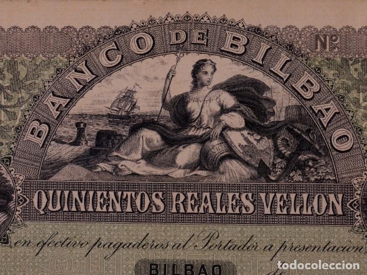 Reproducciones billetes y monedas: FACSIMIL DE 500 REALES DE VELLÓN BANCO DE BILBAO SOBRE 18.. - Foto 2 - 90346578