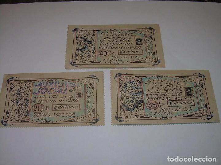 AUXILIO SOCIAL...TRES VALES PARA ENTRADAS DE CINE...MOLLERUSA..LERIDA. (Numismática - Reproducciones)