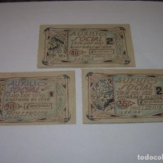 Reproducciones billetes y monedas: AUXILIO SOCIAL...TRES VALES PARA ENTRADAS DE CINE...MOLLERUSA..LERIDA.. Lote 91153505