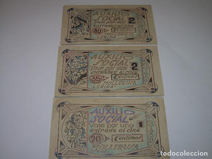 Reproducciones billetes y monedas: AUXILIO SOCIAL...TRES VALES PARA ENTRADAS DE CINE...MOLLERUSA..LERIDA. - Foto 2 - 91153505