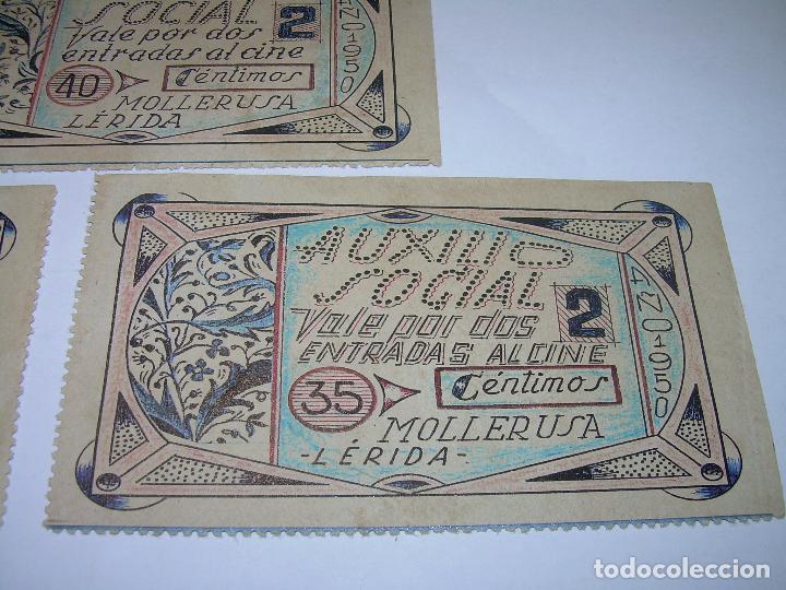 Reproducciones billetes y monedas: AUXILIO SOCIAL...TRES VALES PARA ENTRADAS DE CINE...MOLLERUSA..LERIDA. - Foto 4 - 91153505