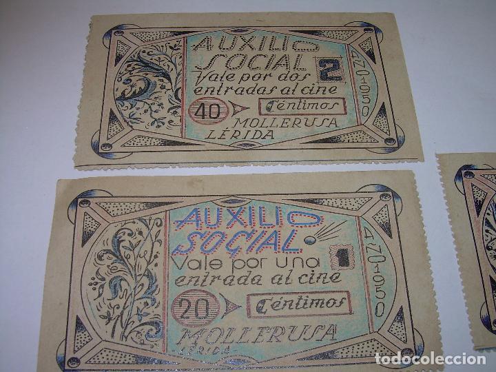 Reproducciones billetes y monedas: AUXILIO SOCIAL...TRES VALES PARA ENTRADAS DE CINE...MOLLERUSA..LERIDA. - Foto 5 - 91153505