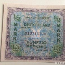 Reproducciones billetes y monedas: BILLETE OCUPACIÓN DE ALEMANIA DE EE.UU. 2 GUERRA MUNDIAL. ½ MARCO. 1944. RÉPLICA. Lote 91310145