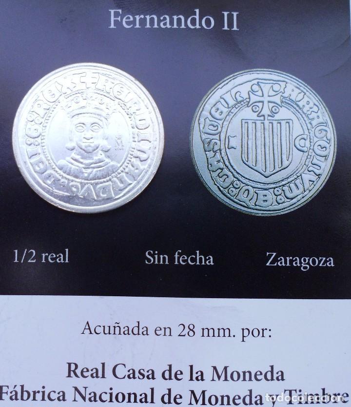 MEDIO REAL SIN FECHA DE FERNANDO II CON BAÑO DE PLATA PURA ACUÑADA LA REAL CASA D LA MONEDA (Numismática - Reproducciones)