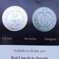 Reproducciones billetes y monedas: MEDIO REAL SIN FECHA DE FERNANDO II CON BAÑO DE PLATA PURA ACUÑADA LA REAL CASA D LA MONEDA. Lote 94516926