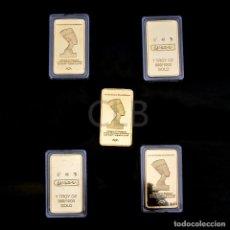 Reproducciones billetes y monedas: BONITO LINGOTE ORO 24KT CLEOPATRA VII PHILOPATOR EGIPTO - FARAON - EDICION LIMITADA (1). Lote 95389707
