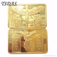 Reproducciones billetes y monedas: BONITO LINGOTE ORO 24K JESUS LOS 10 MANDAMIENTOS EDICION LIMITADA DIFICIL DE CONSEGUIR (1). Lote 95391959