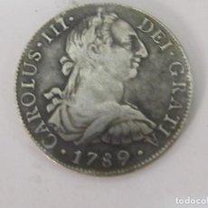 Reproducciones billetes y monedas: 8 REALES MEXICANOS DE 1789 - CAROLUS III-REPRODUCION ANTIGUA PESA 23 G EN PLATA. Lote 98024059