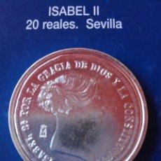 Reproducciones billetes y monedas: MONEDA ISABEL II 20 REALES 1850 SEVILLA. REPRODUCCIÓN . Lote 98695279
