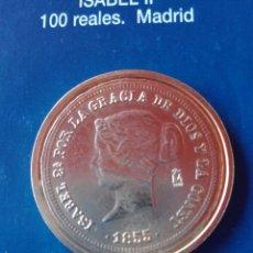 Reproducciones billetes y monedas: MONEDA ISABEL II 100 REALES 1885 MADRID. REPRODUCCIÓN. Lote 98695412